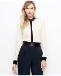 Ann Taylor | Black Petite Colorblock Silk Blouse | Lyst