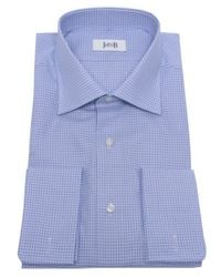 Jules B - Blue Micro Check Shirt W/ Pocket Square for Men - Lyst
