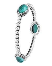 Lagos | Green Silver Beaded Maya Malachite Medium Bangle | Lyst