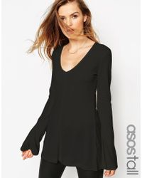 ASOS | Black Tall Clean Tunic With Long Sleeves And V Neck | Lyst