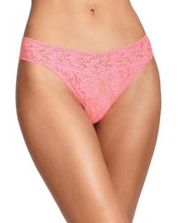 Hanky Panky - Pink Signature Lace Original-rise Thong - Lyst