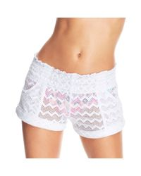 Roxy - White Crochet Shorts Cover Up - Lyst