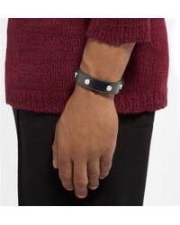 Balenciaga - Black Studded Creased-Leather Bracelet for Men - Lyst