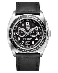 Luminox | Black 'air - P-38 Lightning' Leather Strap Watch for Men | Lyst