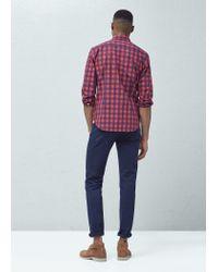 Mango - Purple Slim-fit Check Cotton Shirt for Men - Lyst