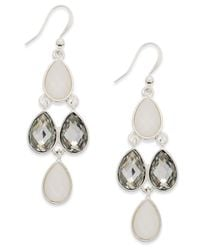 Style & Co. | Style&co. Silver-plated Mixed Metal White Stone Mini Teardrop Kite Fish Hook Earrings | Lyst