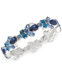 Nine West | Silver-tone Blue Crystal Stretch Bracelet | Lyst