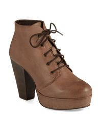 Steve Madden | Brown Raspy Leather Booties | Lyst