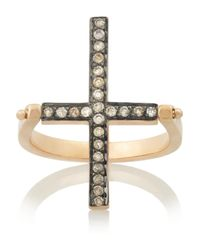 Ileana Makri - Metallic Turning Cross 18karat Rose Gold Diamond Ring - Lyst