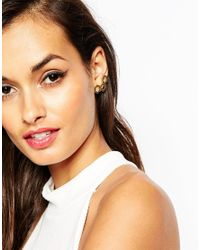 ASOS - Metallic Honeycomb Stud Earrings - Lyst