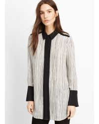 VINCE | Black Silk Wavy Stripe Printed Blouse | Lyst