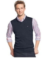 Tommy Hilfiger | Blue Signature V-neck Sweater Vest for Men | Lyst