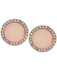 Michael Kors Pink Rose Gold-tone Disc Stud Earrings