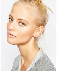 ASOS - Metallic Sterling Silver Double Triangle Studs With Chain - Lyst