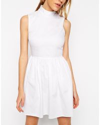 ASOS - White Petite Exclusive Cotton Skater Dress With High Neck And Button Back - Lyst