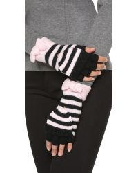 Kate Spade | Black Modern Heritage Stripe Pop Top Mittens - Cream | Lyst