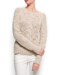 Mango - Natural Cable Knit Wool Jumper - Lyst