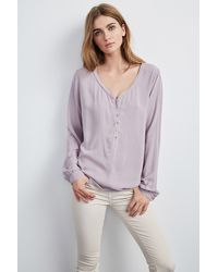 Velvet By Graham & Spencer - Purple Alda Challis Button Blouse - Lyst