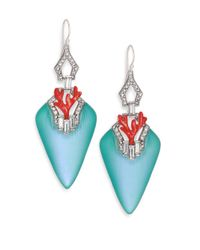 Alexis Bittar | Coral Deco Lucite, Crystal & Enamel Baguette Drop Earrings/blue | Lyst