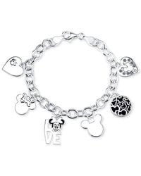 Disney | Gray Mickey Mouse Charm Toggle Bracelet In Sterling Silver | Lyst