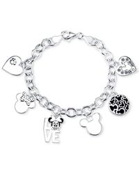 Disney - Gray Mickey Mouse Charm Toggle Bracelet In Sterling Silver - Lyst
