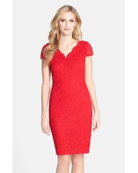 Donna Ricco - Red Stretch Lace Dress - Lyst
