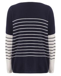 Cocoa Cashmere | Blue Striped Pocket Cashmere Jumper | Lyst