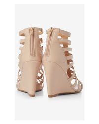 Express - Natural Faux Lizard Wedge Cage Sandal - Lyst