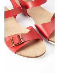 Forever 21 | Red Buckled Faux Leather Sandal | Lyst