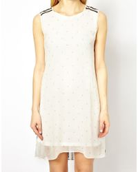 Traffic People | White Anchors and Stripes Silk Two Sided Dress | Lyst