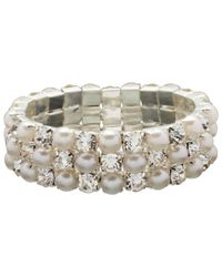 John Lewis - White Faux Pearl And Cubic Zirconia Stretch Bracelet - Lyst