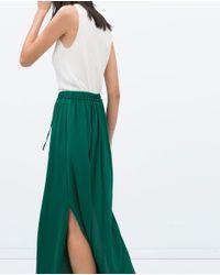 Zara | Green Long Skirt With Slits | Lyst