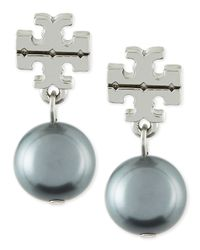 Tory Burch | Metallic Silvertone Logo Pearl Drop Earrings | Lyst