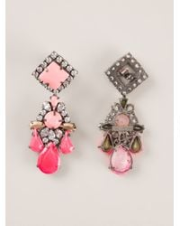 Shourouk | Pink Dropped Embellished Earrings | Lyst