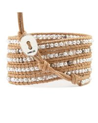 Chan Luu - Brown Grey Pearl And Crystal Wrap Bracelet On Beige Leather - Lyst