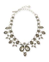 Oscar de la Renta | Black Pear Crystal Statement Necklace | Lyst
