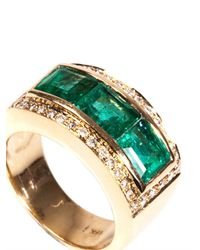 Jade Jagger | Green Diamond, Emerald & Yellow-Gold Ring | Lyst
