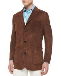 Kiton | Brown Three-button Suede Blazer for Men | Lyst