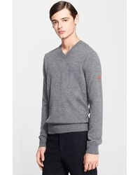 Comme des Garçons - Gray V-neck Sweater for Men - Lyst