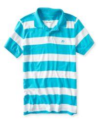 Aéropostale | Blue A87 Bar Stripe Logo Jersey Polo | Lyst