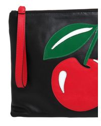 RED Valentino | Black Strawberry Patch Leather Pouch | Lyst