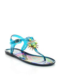 Ivy Kirzhner | Blue Jezabelle Jeweled Rubber Thong Sandals | Lyst