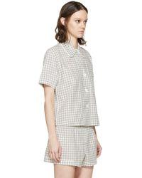 Araks - Gray Grey Gingham Pyjama Shelby Blouse - Lyst