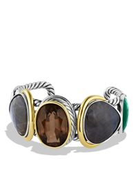 David Yurman | Metallic Viridian Cuff With Smoky Quartz, Gray Sapphires, And Gold | Lyst