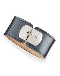 Balenciaga | Pearl Gray Leather Padlock Bracelet | Lyst