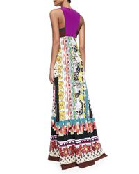 Etro | Multicolor Floral/zigzag Tiered Silk Patio Dress | Lyst