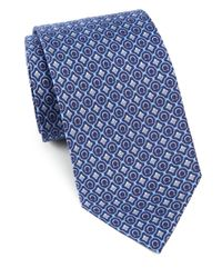 Ferragamo - Blue Gancini & Diamond Print Silk Tie for Men - Lyst