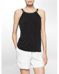 Calvin Klein | Black White Label Faux Leather Buckle Halter Top | Lyst