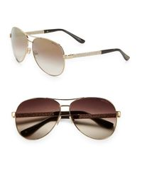 Jimmy Choo | Metallic Lexie 61mm Aviator Sunglasses | Lyst