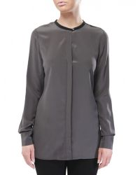 Vince | Black Colour Block Silk Shirt | Lyst